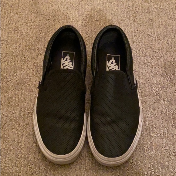 Vans Shoes - Black leather slip on vans